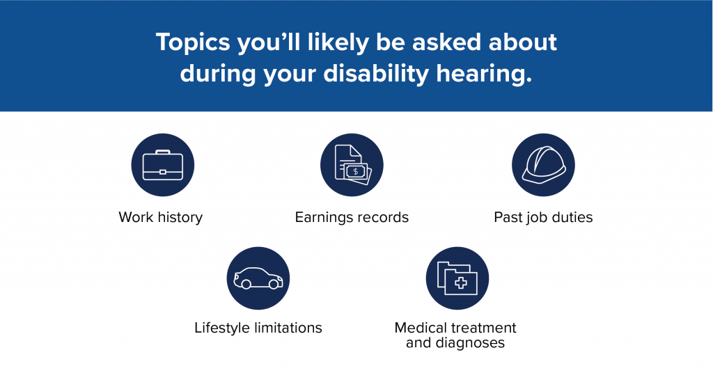 Topics you'll likely be asked about during your disability hearing: Work history, earnings records, past job duties, lifestyle limitations, medical treatment and diagnoses.